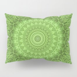 Sunflower Feather Bohemian Leaf Pattern \\ Aesthetic Vintage \\ Green Teal Aqua Color Scheme Pillow Sham