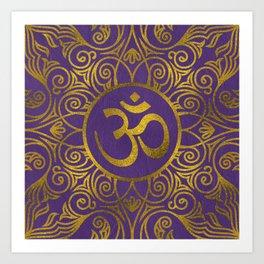 Golden  OM symbol with  on pastel purple Art Print