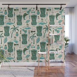 Tropical Tiki - Cream & Aqua Wall Mural