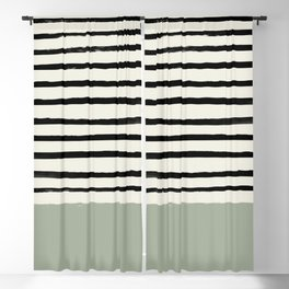 Sage Green x Stripes Blackout Curtain