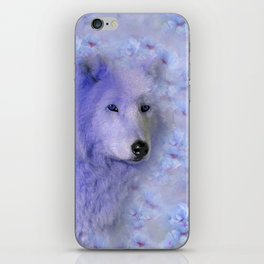 WOLF BLUE LILAC PURPLE FLOWER SPARKLE iPhone Skin