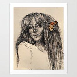 SZA butterfly love galore -pen/line drawing Art Print