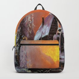 Winter house in the forest Backpack