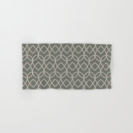 Green Neutral Beige Geometric Teardrop Pattern 2021 Color of the Year Contemplative and Stucco Hand & Bath Towel