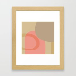 Pink and Beige Abstract Framed Art Print