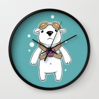pilot Wall Clocks featuring Polar Pilot by Freeminds