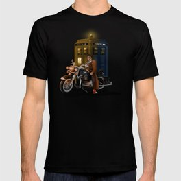 10th Doctor who with Big Motorcycle T-shirt