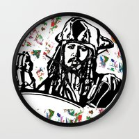 jack sparrow Wall Clocks featuring Jack Sparrow....Captain Jack Sparrow.. by Kramcox
