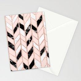 Rose gold glitter chevron herringbone black white marble pattern Stationery Cards