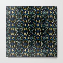 Khanda symbol pattern marble and gold Metal Print