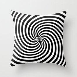 Black And White Op Art Spiral Throw Pillow