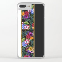 Watercolor Flowers Black White Gold Color Blocks Clear iPhone Case