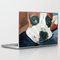 marley Laptop & iPad Skins featuring Marley the Boxer Dog Original Portrait Painting by Barking Dog Creations Studio
