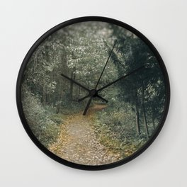 Autumn Path Through the Woods Wall Clock