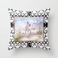 swan Throw Pillows featuring Swan by CrismanArt