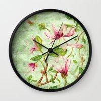 magnolia Wall Clocks featuring Magnolia by CatDesignz