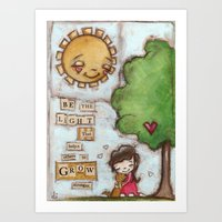 Be the Light (with dog) Art Print