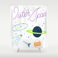 outer space Shower Curtains featuring Outer Space! by Conscious Transmitter