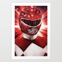 power ranger Art Prints featuring Red Power Ranger by SachsIllustration