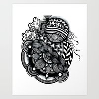 zentangle Art Prints featuring zentangle by goyye