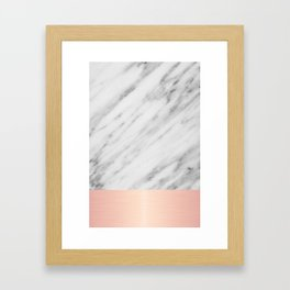 Real Italian Marble and Pink Framed Art Print