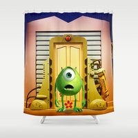 monster inc Shower Curtains featuring  Monster Inc Mike Wazowski by Thorin