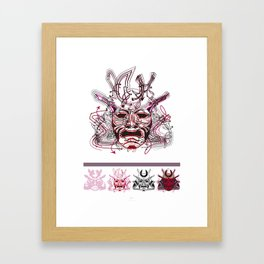 "Samurai 1. (Samurai mask ""A"" big and 4 small masks) Framed Art Print"