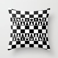 chess Throw Pillows featuring chess by Vickn