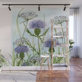 Thistle White Lace Watercolor Wall Mural