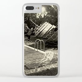 Sinking into the Pool Black and White Clear iPhone Case