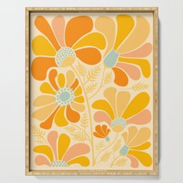 Sunny Flowers / Floral Illustration Serving Tray