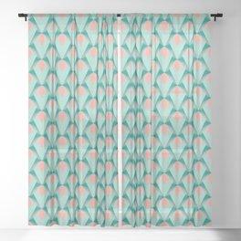 Pink Peach Yukka And Green Art Deco Pattern Sheer Curtain