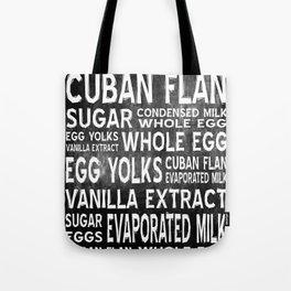 Cuban Flan Word Food Art Poster (Black) Tote Bag