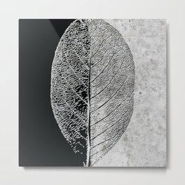 Natural Outlines - Leaf Black & Concrete #768 Metal Print