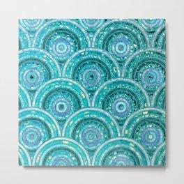 Aqua Blue Silver and Green Sparkling Glitter Circles Metal Print