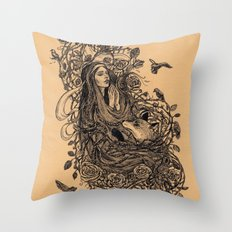 Lady and the fox Throw Pillow