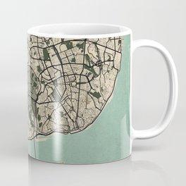 Lisbon City Map of Portugal - Old Vintage Coffee Mug