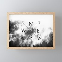 Foggy Forest Compass Framed Mini Art Print