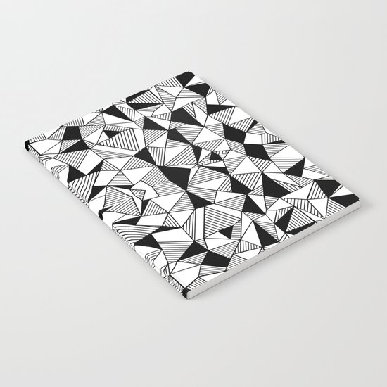 Ab Lines Tile with Black Blocks Notebook