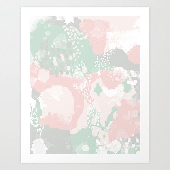 Alexei - abstract minimal modern painting splash dots stripes painterly art Art Print