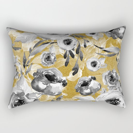 Black and white flowers with gold Rectangular Pillow