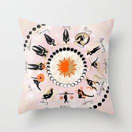 Zodiac Wheel Throw Pillow