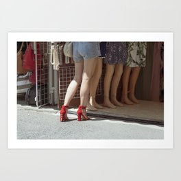 Retro style sexy woman in red high heel shoes in a street Art Print