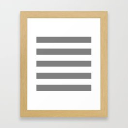 Gray (HTML/CSS gray) -  solid color - white stripes pattern Framed Art Print