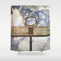 basketball Shower Curtains featuring Hoosier Basketball by Amy J Smith Photography