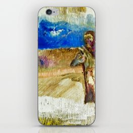 Some Guy And A Horse by Valdimir Karabegov iPhone Skin