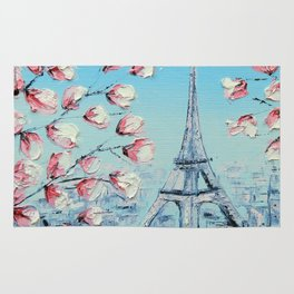 Paris Spring Cherry Blossoms, Eiffel Tower Art by Lisa Elley Rug