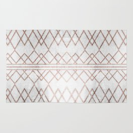 Chic & Elegant Faux Rose Gold Geometric Triangles Rug