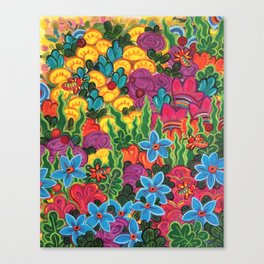 Bright Sunny Bugs and Flowers Canvas Print