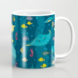 Decorative seamless pattern with sea fish on blue background. Coffee Mug
